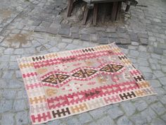 "50 % OFF! TURKISH KILIM RUG, 119  x 90 cm ( 46.8 "" x 35 "" )"