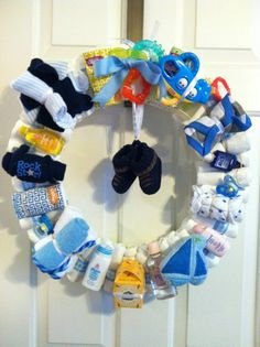 Baby Boy Diaper Wreath...About Time I See A Cute Baby Boy Shower Gift...Click On Picture For Directions...