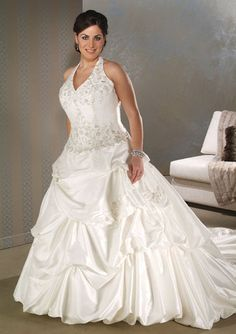 Taffeta Ball Gown V Neck Halter Plus Size