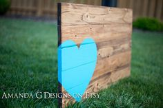 Hand Painted wood sign Turquoise Heart  Wedding guest book alternative