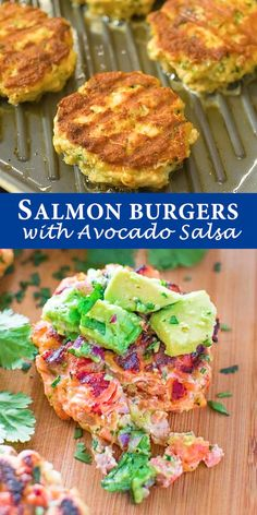 summer recipes Salmon Burgers just got healthier! Make these on a grill or stovetop, ditch the bun, and serve with mouthwatering Avocado Salsa. This tasty and easy Salmon Burger recipe is not to be missed! Cooktoria for more deliciousness! Shellfish Recipes, Seafood Recipes, Cooking Recipes, Healthy Recipes, Healthy Salmon Burgers, Tasty Burger, Salmon Sandwich, Salmon Cakes, Salmon Patties