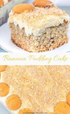 A Southern favorite with a twist. This banana pudding cake's got a moist banana cake for the bottom layer and a creamy banana pudding, cream cheese topping. Then all topped with vanilla wafers. Banana Pudding Desserts, Banana Pudding Poke Cake, Homemade Banana Pudding, Banana Dessert, Banana Recipes, Cake Recipes, Dessert Recipes, Banana Cakes, Banana Bread