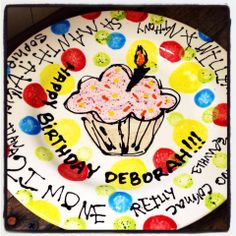 Birthday Plate Signed By All Guests At A Pottery Party Art You Weirdgirl Creations Studio