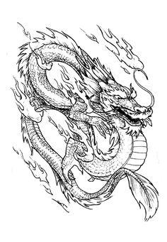 Gratis kleurplaat kleuring-pagina-Chinese draak.  Draak komt met vuur!