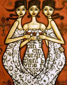 """Un vino rosso per favore"" original artwork 110 x 140cm acrylics on canvas by Noosa artist Sarah Thomas www.editionsnoosa.com e sarah@editionsnoosa.com"