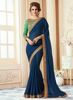 Buy Blue Georgette Border Saree online from the wide collection of sari. This Blue colored sari in Faux Georgette fabric goes well with any occasion. Shop online Designer sari from cbazaar at the lowest price.