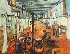 Vincent van Gogh: Ward in the Hospital in Arles. Oil on canvas. Arles: April, Winterthur: Oskar Reinhart Collection 'Am Rumerholz' Vincent Van Gogh, Van Gogh Art, Art Van, Winterthur, Van Gogh Pinturas, Van Gogh Paintings, Paintings Famous, Famous Art, Canvas Paintings