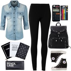 A fashion look from August 2015 featuring LE3NO tops, Max Studio leggings and Converse shoes. Browse and shop related looks.