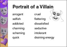 Model for students on how to describe characters! Describing Characters, Evil Villains, Writer's Block, Children's Literature, Adolescence, School Teacher, Writing Tips, Social Studies, Workplace