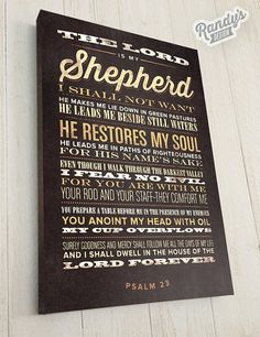 The Lord is My Shepherd Bible Verse on Canvas by RandysDesign