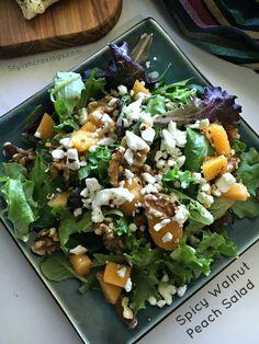 Spicy Walnut Peach Salad #FreschEats #ad