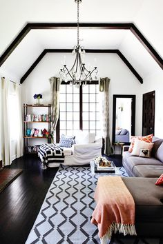 graphic accents in a cozy living room