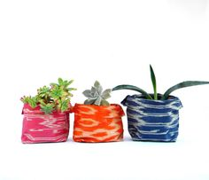 Keen and Fitting: ikat fabric planters