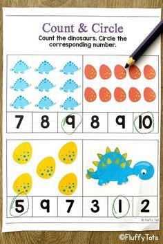Dinosaurs counting printables activities for preschool and kindergarten kids. Dinosaur Printables, Dinosaur Activities, Counting Activities, Math Games, Learning Numbers Preschool, Subtraction Activities, Shape Matching, Dinosaurs, Homeschooling