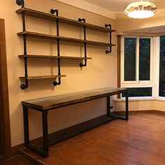 Metal Floating Shelves, Industrial Pipe Shelves, Rustic Shelves, Wood Shelves, Metal Pipe Shelves, Floating Bookshelves, Plumbers Pipe Shelving, Shelves With Pipes, Galvanized Pipe Shelves