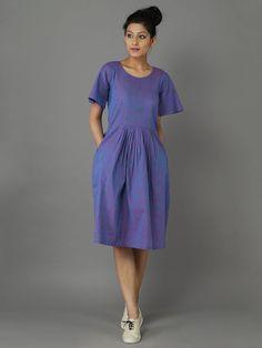 Purple Handwoven Handloom Cotton Dress