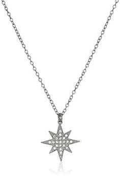 """Sterling Silver Cubic Zirconia Star Chain Pendant Necklace, 16""""+1"""" Extender. Sterling silver necklace with star-shaped pendant featuring sparkling cubic zirconia rounds. Cable chain with spring-ring clasp. Made in the United States."""