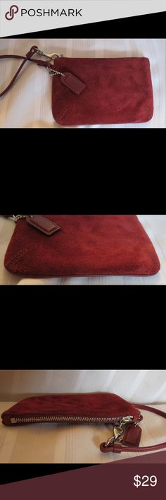 "Beautiful Merlot Suede Coach Wristlet Wallet Beautiful Merlot Suede Coach Wristlet Wallet  Excellent gently used condition Burgundy sueded leather Approx Measurements: 6"" X 4""  All of my items are Guaranteed 100% Genuine I do not sell FAKES of any kind   No Trades (S092) Coach Bags Clutches & Wristlets"