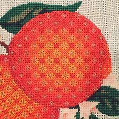 One of the WORST knock-knock jokes ever. But, it was the first thing that  came into my head as I plotted this post. Because, um, today's stitch  comes from an orange on one of my Melissa Shirley fruit pillows.   For those of you whom open work makes you itch, this may be a stitch for  you. It is very, very close to full coverage. The choice of lighter  weight threads reinforce the open look. Here's the stitch.  It's a 3X3 diamond with a Smyrna Cross in the diamond intersections and a…