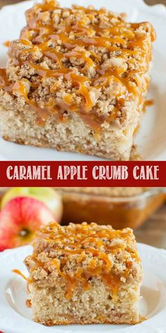 Caramel Apple Crumb Cake is a scrumptious fall dessert! Filled with cinnamon and apples, loaded with a buttery crumb topping, and a salted caramel drizzle! Easy No Bake Desserts, Apple Dessert Recipes, Pear Recipes, Fall Desserts, Icing Recipes, Cookie Recipes, Apple Crumb Cakes, Apple Coffee Cakes, Brown Sugar Cakes