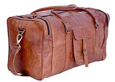 "Genuine Leather Duffel Bag Weekend Gym Sport Luggage Travel Vintage Suitcase 21""…"