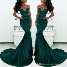 Elegant Hunter Green Satin Mermaid Arabic Formal Evening Dresses 2017 Cheap Sweetheart Plus Size Prom Occasion Gowns Vestidos De Novia Cheap