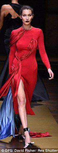 Be a lady in red like Bella Hadid in Atelier Versace
