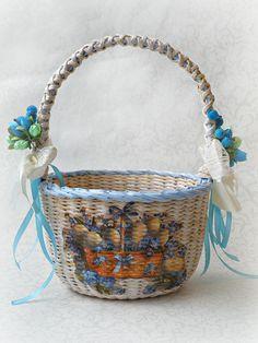 Girls easter basket easter egg basket storage basket beauty gift easter basket for baby easter basket stuffers wicker basket easter kitchen decor egg hunt basket flower negle Images