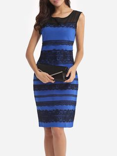 #AdoreWe #FashionMia Bodycon Dresses - FashionMia Assorted Colors Lace Patchwork Elegant Round Neck Bodycon-dress - AdoreWe.com