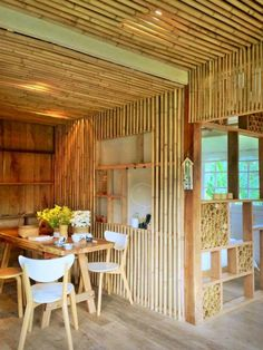 Trendy Design Home Minimalist Layout Bamboo House Design, Tiny House Design, Minimalist Layout, Minimalist Living, Hut House, House Roof, Bamboo Building, Deco Restaurant, Bamboo Structure