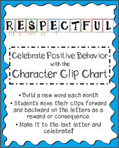 Celebrate Positive Behavior with the Character Clip Chart.  I've been using this clip chart in my classroom for ten years. It works and kids LOVE it!