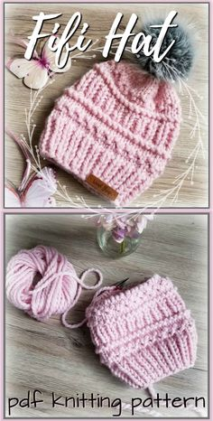I love the different textures on this cute and chunky Fifi Hat! Super bulky yarn means this hat pattern knits up in an hour or two! Check out the lovely chunky knit hat patterns! Easy Knitting Patterns, Knitting Projects, Knitted Hat Patterns, Knitting Tutorials, Stitch Patterns, Knit Or Crochet, Crochet Hats, Crochet Granny, Super Bulky Yarn