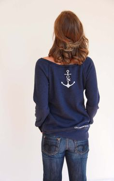 Bee crest, navy off-the-shoulder sweatshirt Loose Goose Canada Tattoo T Shirts, Off The Shoulder, Graphic Sweatshirt, Pullover, Navy, Sweatshirts, Sleeves, Sweaters, Canada