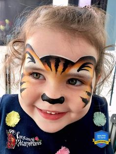 Tiger face paint Cute Animals Face Painting Ideas For Kids Girl Face Painting, Painting For Kids, Body Painting, Animal Face Paintings, Animal Faces, Face Painting Tutorials, Face Painting Designs, Hallowen Schminke, Tiger Face Paints