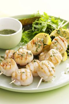 Australian summer seafood, like these delicious barbecued scallop skewers, is perfect for your Australia Day barbecue. Recipe by the Australian Women's Weekly. Seafood Soup, Seafood Dishes, Fish And Seafood, Skewer Recipes, Shellfish Recipes, Australian Food, Australian Recipes, Summer Barbecue, Bbq