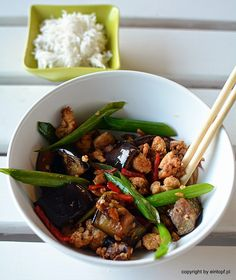 eggplant with chicken, ginger, garlic and chilli Healthy Options, Lunches And Dinners, Kung Pao Chicken, Eggplant, Garlic, Mango, Beef, Cooking, Ethnic Recipes