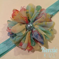 Aqua Floral Handcrafted Headband by Kenzie Kids Boutique