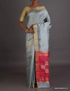 Astha Plain Grey With Contrast Chequered Pallu #DupionSilkSaree