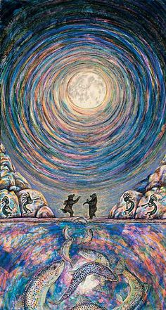 Heaven and Mirth - The denizens of earth dancing mirthfully under the aura of a full moon by Parks Reece