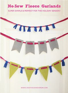 Decorative Homemade Bunting Designs for Any Occasion Fleece Crafts, Fleece Projects, Baby Crafts, Sewing Projects, Fabric Crafts, Art Projects, Diy Crafts For Kids, Crafts To Sell, Bar Mitzvah Decorations