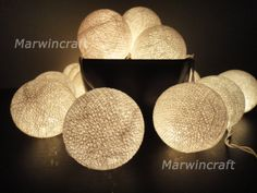 20 Big Cotton Balls White Color Fairy String Lights by marwincraft, $10.97