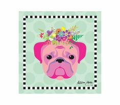 Bulldog Pet Portrait Art Print Illustration Wrapped by AllisStudio