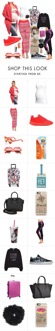 """""""Plane ride home with my sis"""" by lovesyddiebear ❤ liked on Polyvore featuring H&M, NIKE, Cutler and Gross, Longchamp, Forever 21, Givenchy, Casetify, ZAK, Vans and Traveler's Choice"""