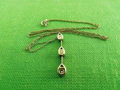 Vintage 10K Gold and CZ Necklace Item 1171 by LaylaBaylaJewelry