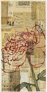 Robert Kushner, Red Peony III collage on newspaper pieces.