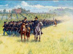 """ Gettysburg, Pennsylvania, July 1863 - The Wisconsin Volunteer Infantry Regiment moving toward the cut railroad. Print by Dale Gallon. American Indian Wars, American Civil War, Military Art, Military History, History Clipart, Civil War Art, Union Army, West Art, Civil War Photos"