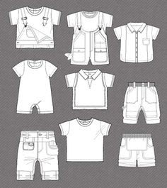 Set of fashion flat sketches for baby boy