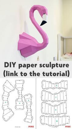 How to make your own paper sculpture, flamingo and many other. Paper Crafts Origami, Diy Paper, Paper Art, Cool Paper Crafts, Paper Toys, Diy Art, Diy Tutorial, Diy Gifts, Crafts For Kids