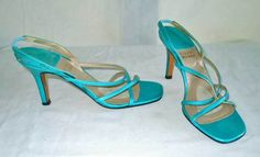 Stuart Weitzman Strappy Sandals Shoes Turquoise Blue Patent Leather Neon 6.5M #StuartWeitzman #Strappy