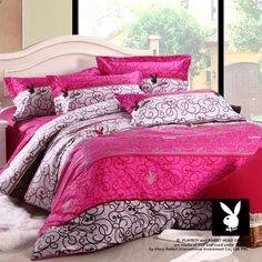 $88 Playboy home textile denim cotton bedding cotton Princess Wedding Cheap Sale Clearance Bedding-ZZKKO
